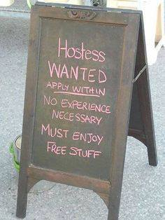 hostess wanted sign