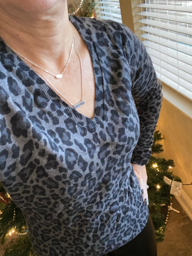 Gray leopard print sweater