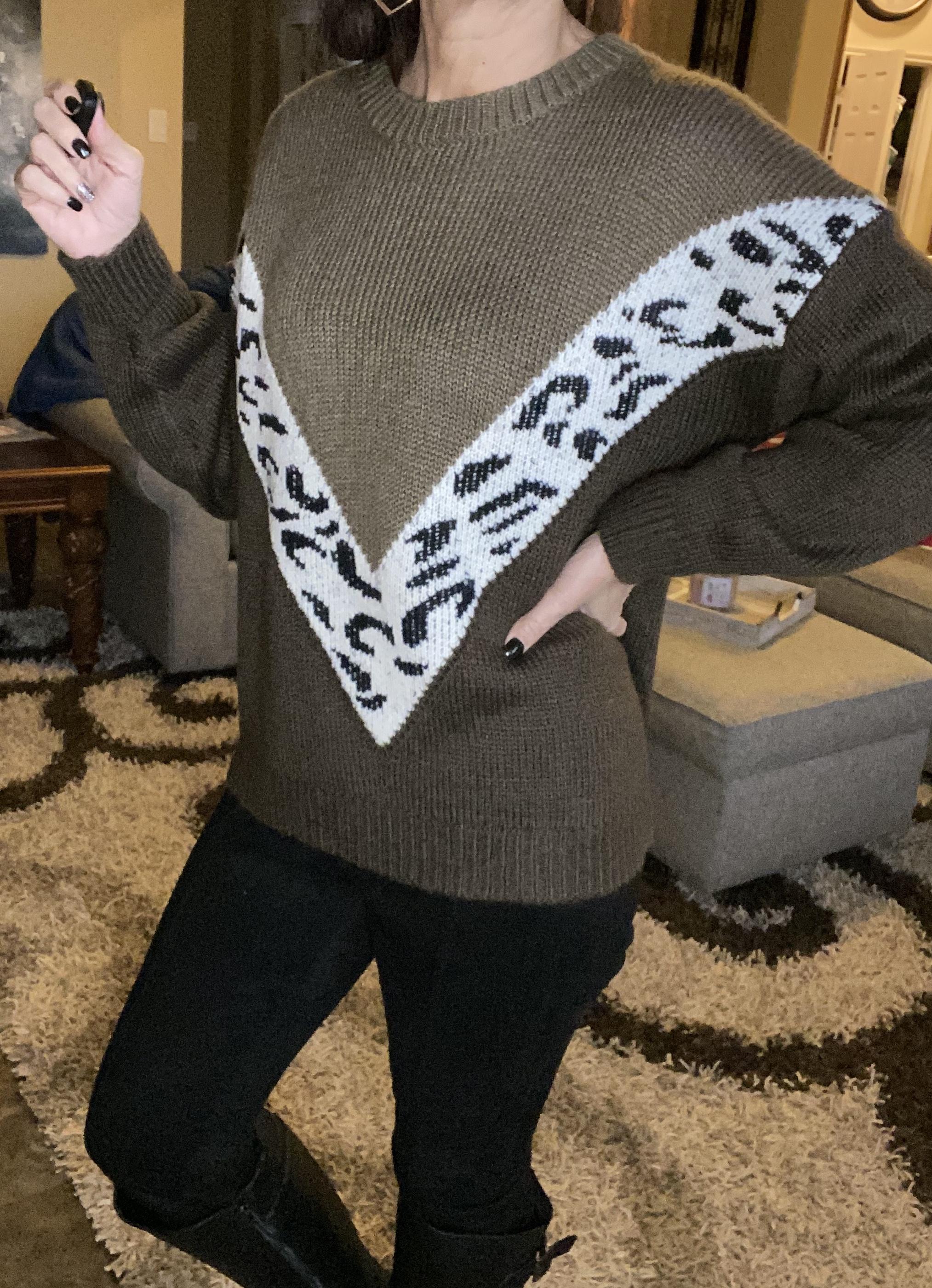 Cheetah block brown sweater